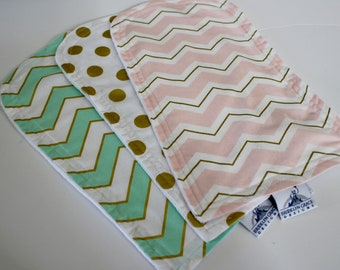 Mint, Blush Pink and Gold Burp Cloths - Burp Pads, Cotton and Chenille - Shower Gift, Stripes, Chevron, Polka Dots