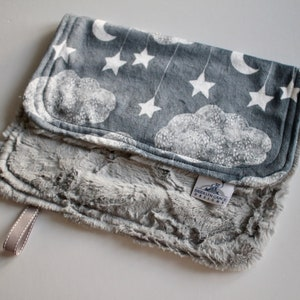 Gender Neutral Dark Gray Satin Trim Crib Bedding Star Nursery Moon Gray and White Minky with White Tile or Silver Hide Minky Cloud