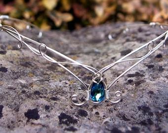 Tiara circlet in sterling silver plate with Bermuda blue Swarovski elven crown