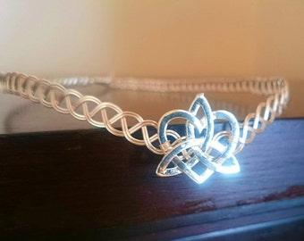 Silver tiara trinity knot heart wedding headpiece circlet celtic knot medieval crown
