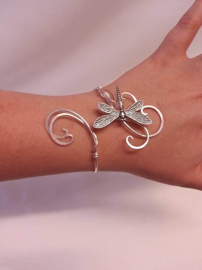 Dragonfly bracelet Silver womens gift cuff wedding elven image 0