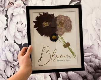 bloom where you are planted flower art / pressed flower wall art / preserved floral artwork / mixed media nature art / nature art decor /