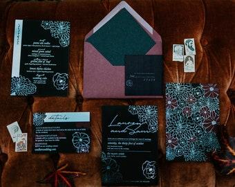 Unique Wedding Invitations / Non-traditional invitations / Acrylic Invitation Cards / Wood Invitation Sets / Creative Wedding Invites / epic