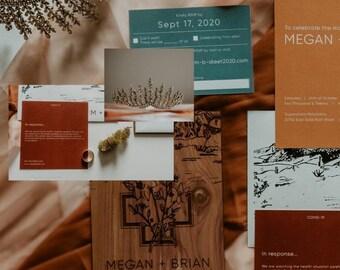 Wood Wedding Invitations / Non-traditional invitations / Natural Invitation Cards / Wooden Invitation Sets / Rustic Wedding Invites /