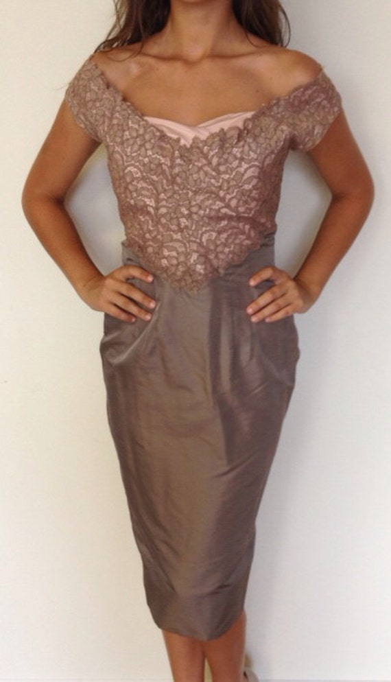 Vintage 1950's Gray Silk & Blush Lace Wiggle Dress