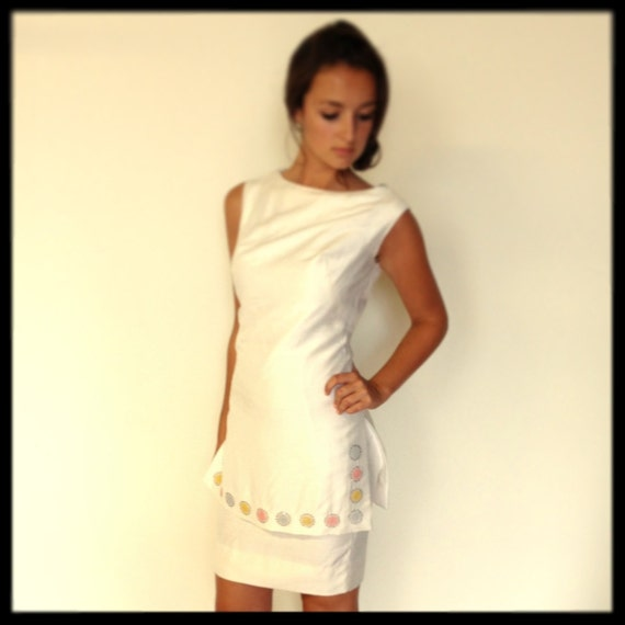 Vintage 1960's Summer White Silk Shift Dress