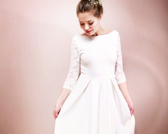 Wedding dress CAMILLE with lace and back neckline
