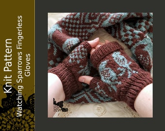 Watching Sparrows Gloves PDF pattern