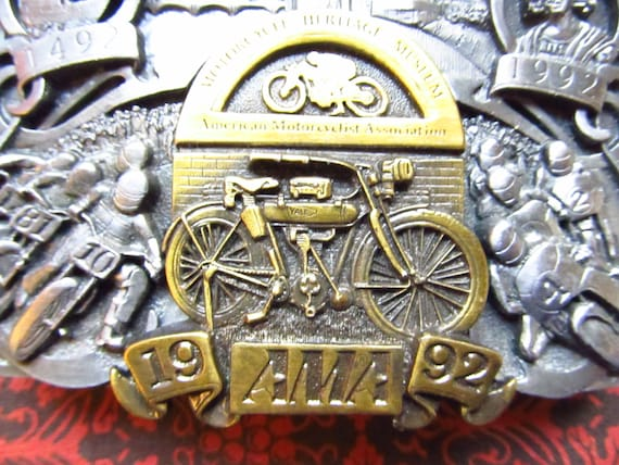 Pewter Belt Buckle Motorcycle Profile red NEW