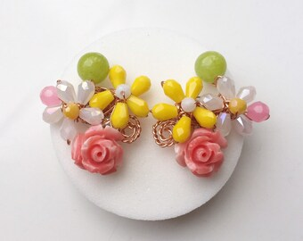 chic gifts Pink purple earrings women earrings floral jewellery pastel jewellery bridesmaid earrings chic earrings