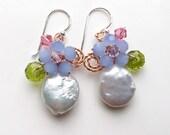 Baroque pearl earrings, coin pearl earrings ,blue Pink earrings , Pearl Earrings , Floral Earrings , mint blue earrings , bridesmaid gifts