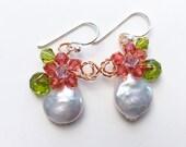 Baroque pearl earrings, coin pearl earrings ,orange earrings , Pearl Earrings , floral earrings , drop earrings , bridesmaid gifts