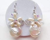 Coin pearl earring , white pearl earring , flat pearl earring , baroque pearl earring , wedding jewellery , bridal earrings , white earring