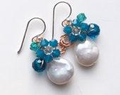Baroque pearl earrings, coin pearl earrings ,blue earrings , Pearl Earrings , Floral Earrings , wedding earrings , bridesmaid gifts