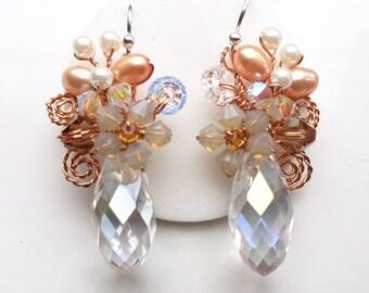 Bridal earrings - Pearl earrings - statement earrings - orange earrings