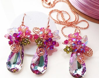 purple jewellery set, pink jewellery, peacock Jewellery, jewellery set, gifts for mom, crystal jewelry, gifts for her.