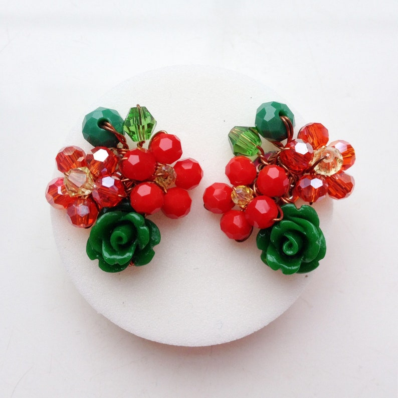 red green earrings floral jewellery Christmas earrings women gifts women earrings stud earrings Red Green Rose earrings