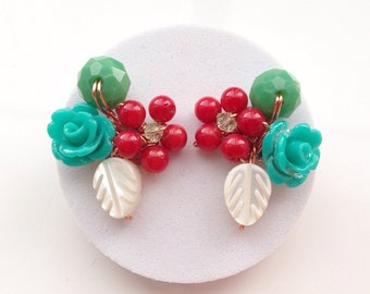 Turquoise Red Earrings,Colourful Jewelry /Rose Earrings/Flower Stud Earrings/Flower Earrings/summer spring Summer Jewelry,Chic Jewelry,Casua