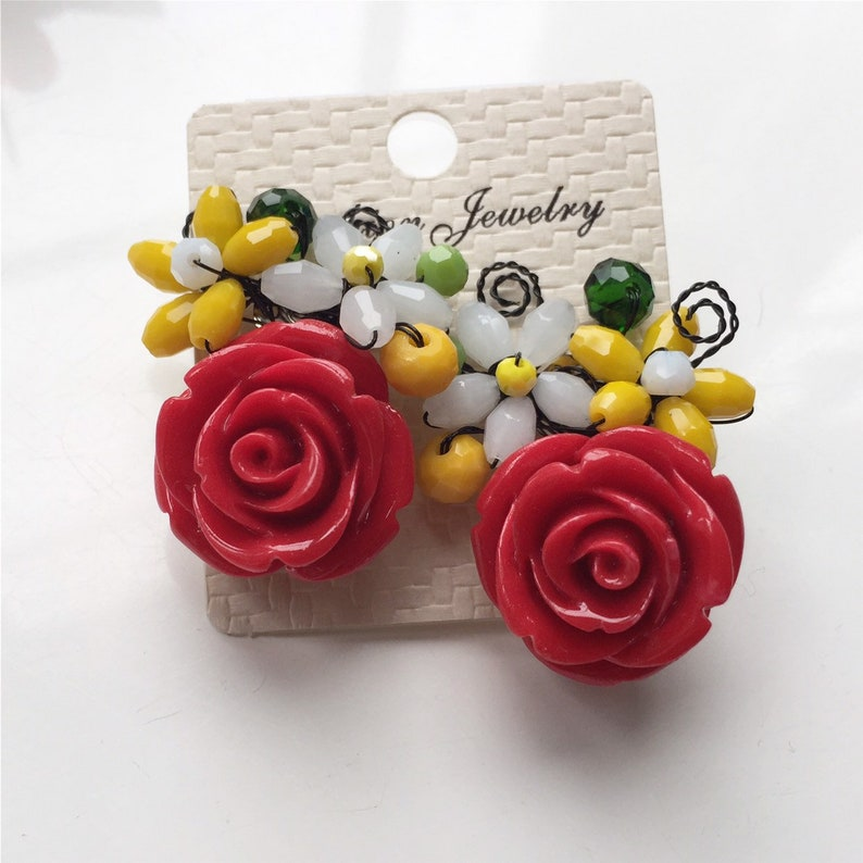 large earrings Large Rose earrings red floral earrings bold earrings red earrings