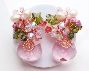 Pink jewellery , rose pink earrings , pearl earrings , statement earrings , drop earrings , butterfly earrings , flower earrings , floral