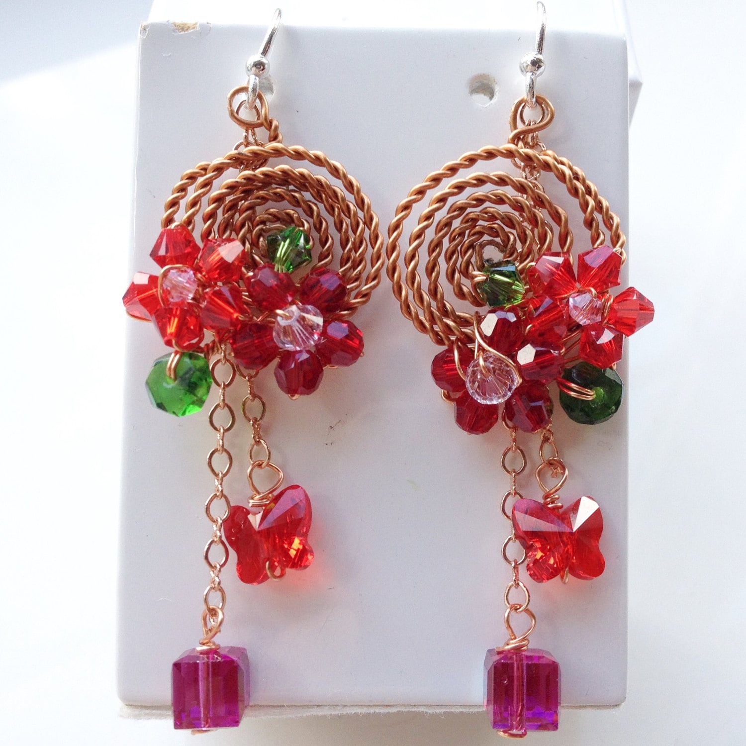 Red Givenchy Chandelier Earrings: Red Chandelier Earrings Gypsy Jewellery Red Earrings