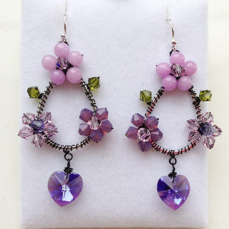 amethyst earring mauve jewellery women earring Violet hoop earring purple earring bridesmaid earring