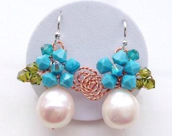 Pearl earrings - UK jewellery - blue earrings - fresh water pearl - turqouise earrings - Pearl jewellery - Pearl Earrings