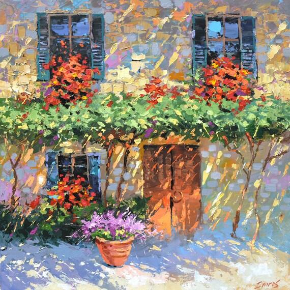 Casa dei fiori dipinti ad olio di Dmitry Spiros 32 x 32 a | Etsy