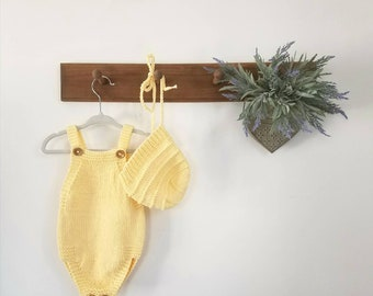 6 - 9 month cotton romper - yellow romper - knitted play suit