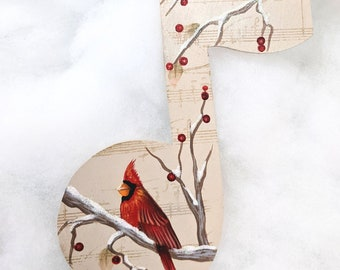Painted Personalized Cardinal Music Note Ornament, Memory ornament