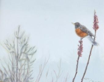 Oil Painting, Print & Cards ~ Robin on Sumac