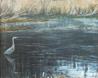 Oil Painting, Prints & Cards ~ Heron in Marshlands