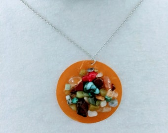 Mixed Gemstone necklace, shell necklace
