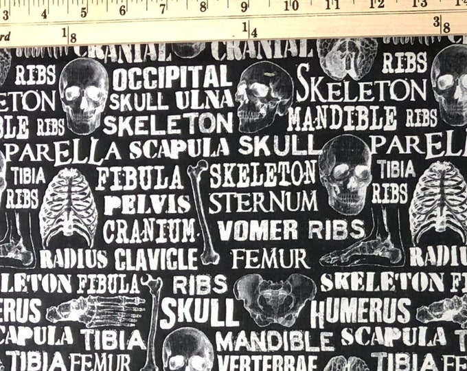 1/4 Yard Anatomy Bones Skeleton Skulls Halloween - Cotton Fabric By the 1/4 Quarter Yard - Face Masks Quilting