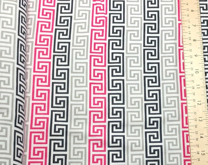 1/4+ Yard Pink Scroll Lines Stripes - Cotton Flannel Fabric By the 1/4 Quarter Yard or 1/2 Yard - Face Masks Quilting