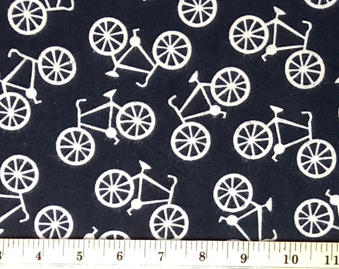 1/4+ Black and White Bikes Bicycles - Cotton Flannel Fabric By the 1/4 Quarter Yard or 1/2 Yard - Face Masks Quilting
