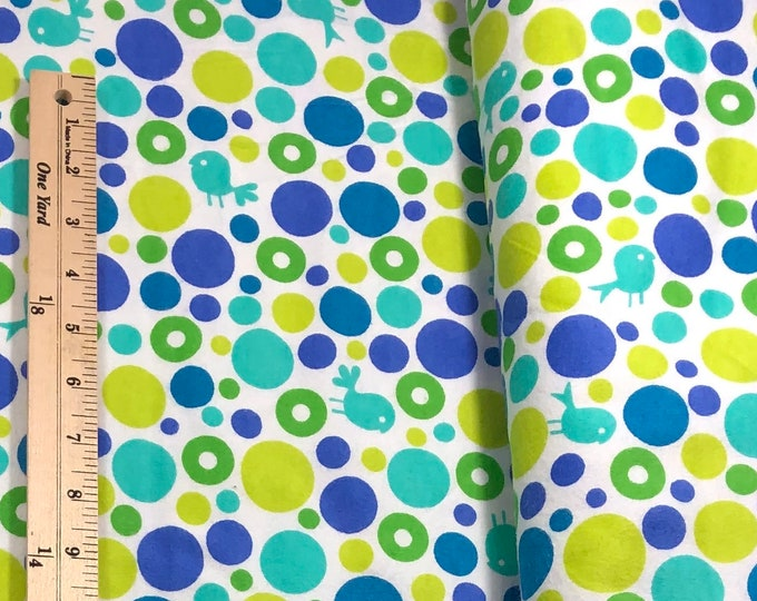 1/4+ Yard Blue Dots Birds - Cotton Flannel Fabric By the 1/4 Quarter Yard or 1/2 Yard - Face Masks Quilting
