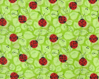 1/4+ Yard Ladybugs on Green Leaves - Cotton Fabric By the 1/4 Quarter Yard or 1/2 Yard - Face Masks Quilting