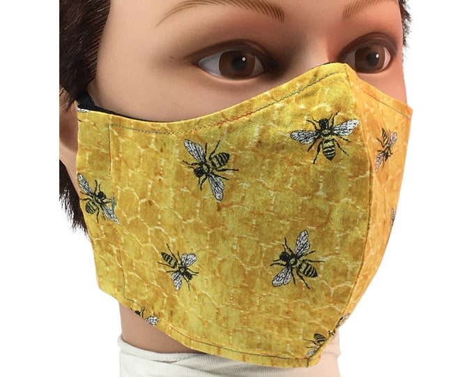 Honeycomb and Bee Cotton Face Mask - Reusable - Washable - Non-Medical
