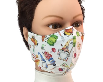 Garden Gnome Cotton Face Mask - Reusable - Washable - Non-Medical