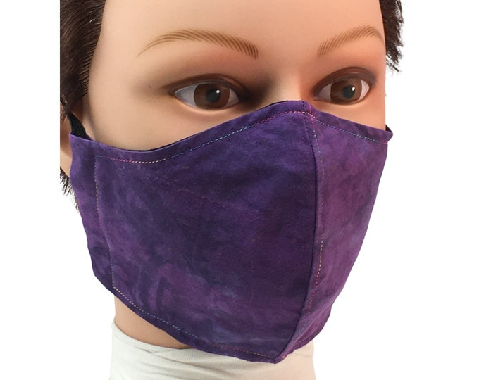 Purple Tie Dye Cotton Face Mask - Reusable - Washable - Non-Medical