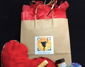 Flax Heart Eye Pillow Gift Set