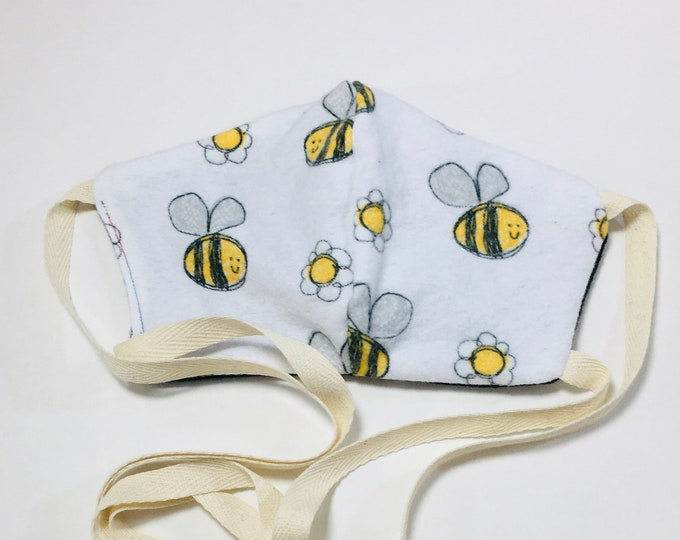 Bee Print Cotton Flannel Reusable Face Mask with Ties