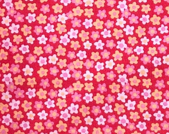 1/4+ Yard Coral Red Flowers - Cotton Fabric By the 1/4 Quarter Yard or 1/2 Yard - Face Masks Quilting