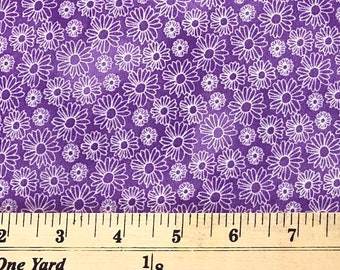 1/4+ Yard Purple Daisy Flowers - Cotton Fabric By the 1/4 Quarter Yard or 1/2 Yard - Face Masks Quilting