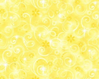 1/4+ Yard Yellow Floral Swirl Spiral Stars - Cotton Fabric By the 1/4 Quarter Yard or 1/2 Yard - Face Masks Quilting