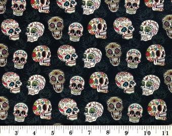 1/4+ Yard Fiesta Sugar Skulls Halloween - Cotton Fabric By the 1/4 Quarter Yard or 1/2 Yard - Face Masks Quilting