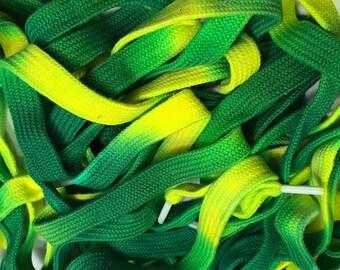 "54"" Tie Dye Shoelaces - Green & Yellow"
