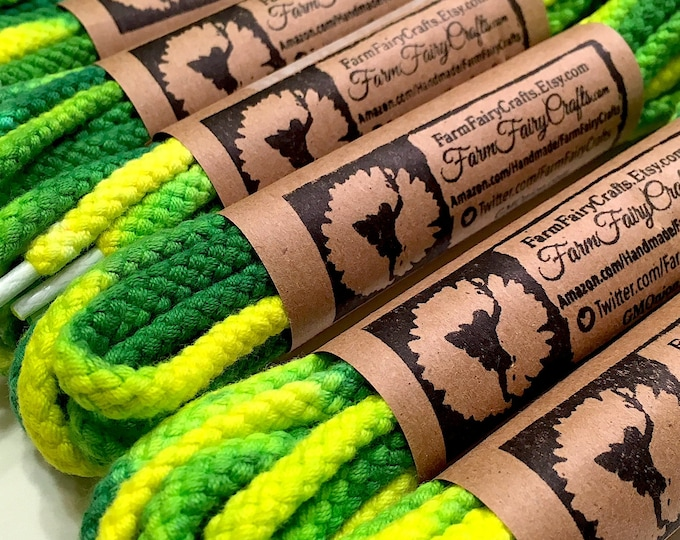 "63"" Tie Dye Shoelaces - Green & Yellow Thick Round Braided"