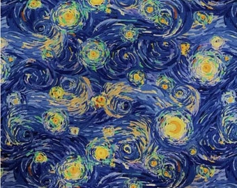 Starry Night Swirls - Blue Yellow Cotton Fabric By the 1/4 Quarter Yard or 1/2 Yard - Face Masks Quilting